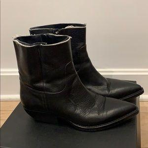 Saint Laurent Shoes - Saint Laurent Theo Frayed Western Ankle Boots